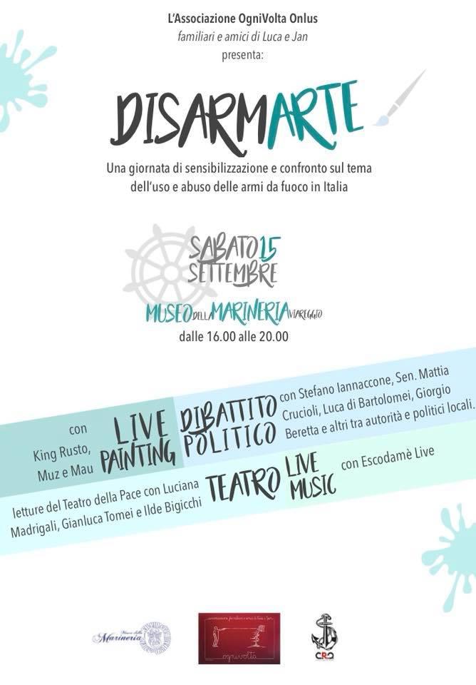DisarmArte, le parole e l'arte lasciano 'disarmati': la giornata di sensibilizzazione a Viareggio