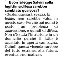 Salvini e il caso-Peveri: la riforma della legittima difesa vuole solo gli italiani pistoleri